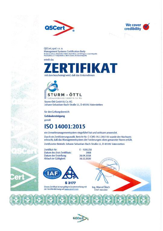 Zertifikat Umweltmanagement