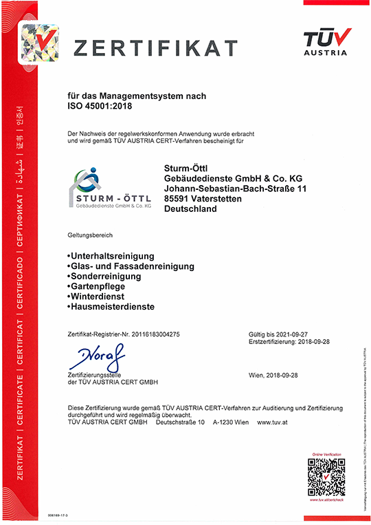 Zertifikat ISO 45001:2018
