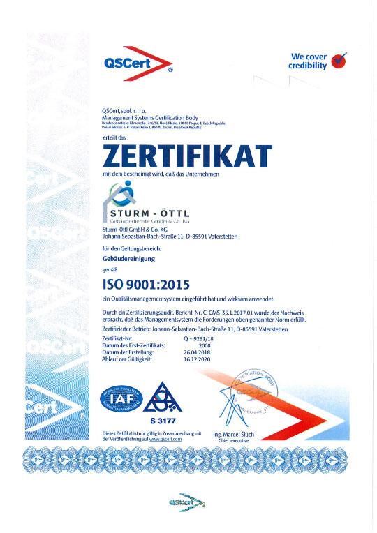 Zertifikat Qualitätsmanagement